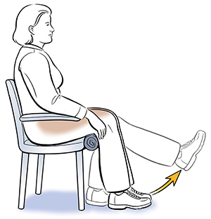 Side view of seated woman doing knee bend exercise.