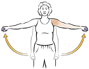 Woman doing dumbbell lateral shoulder raise exercise.