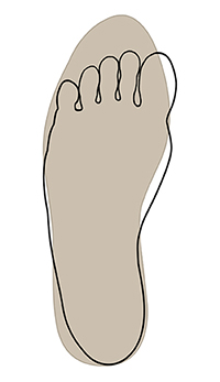 Outline of foot overlapping shape of shoe.