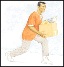 Image of man rising up off knee using arms and legs to lift, not back