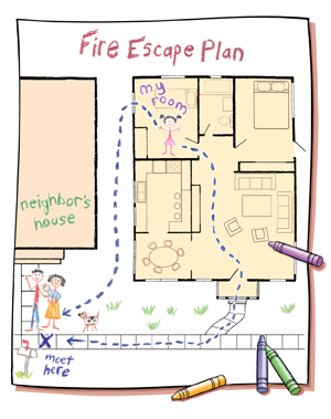 Child's drawing of house plan with fire escape route marked. Crayons lying on top of drawing.